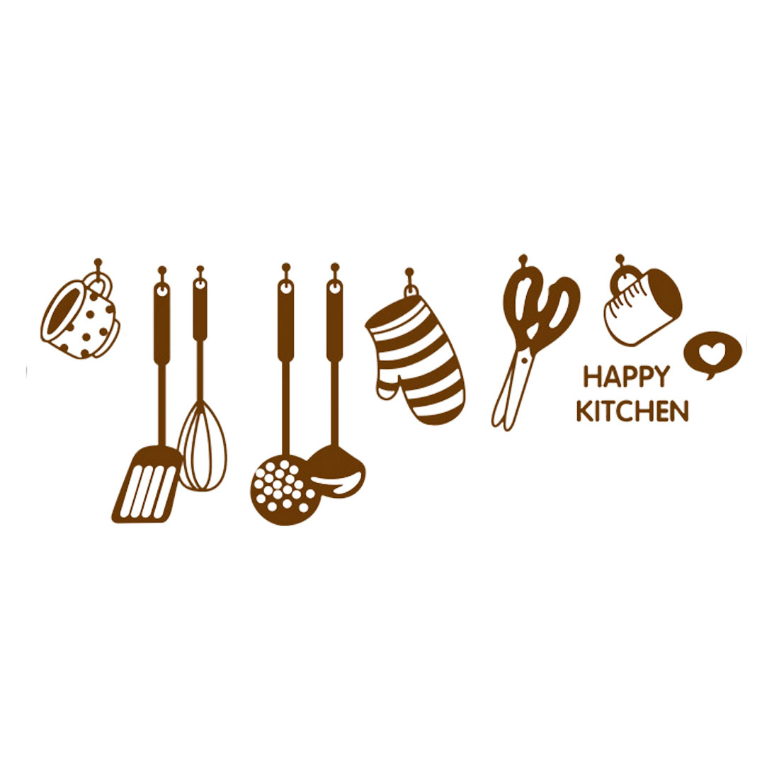 Cartoon Kitchenware Pattern Wall Sticker Self-stick Decal for Living Room