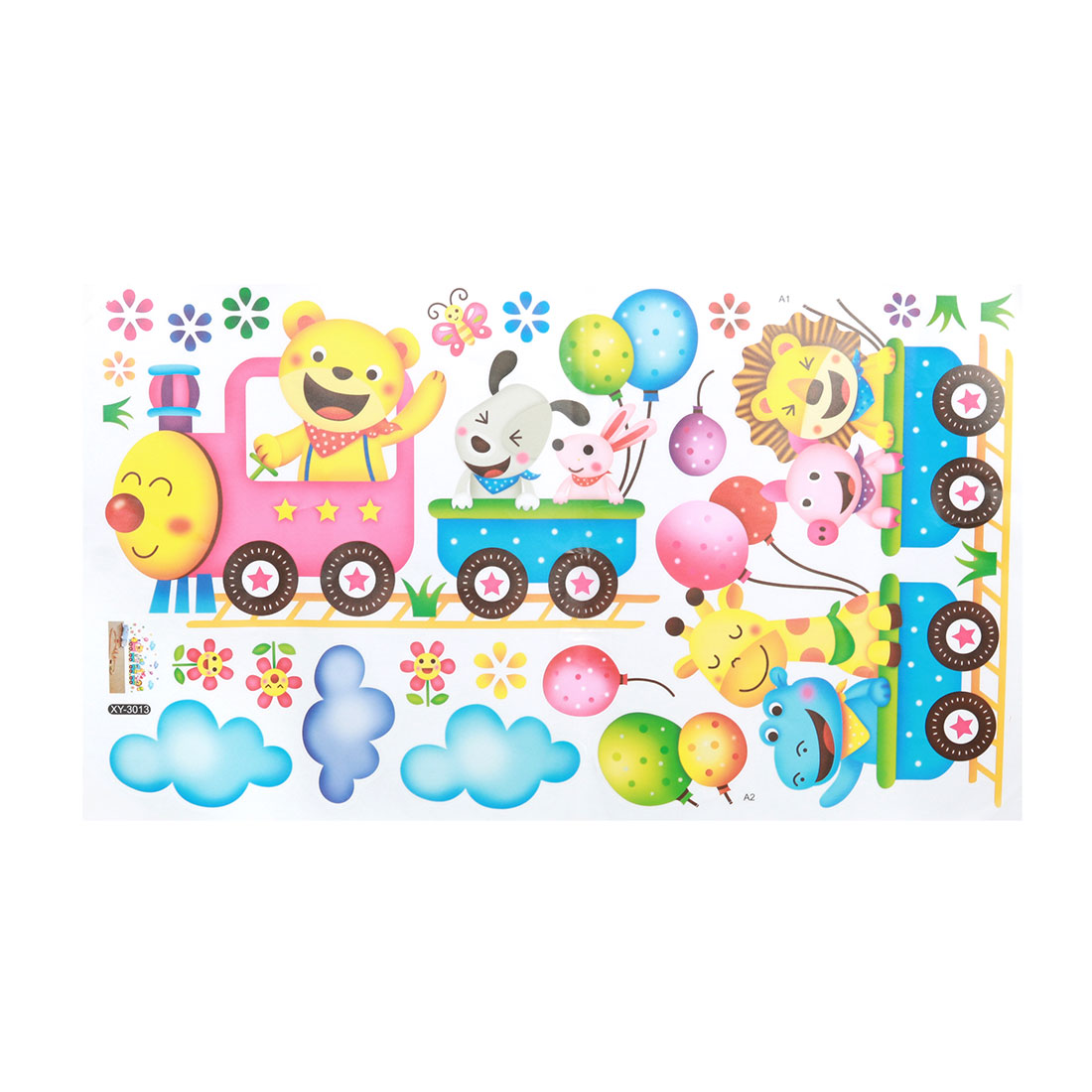 Animals and Train Pattern Wall Sticker Self-stick Decal for Living Room