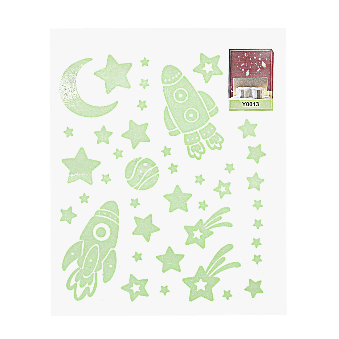 Rocket and Star Pattern Florescent Removable Wall Stickers for Bedroom