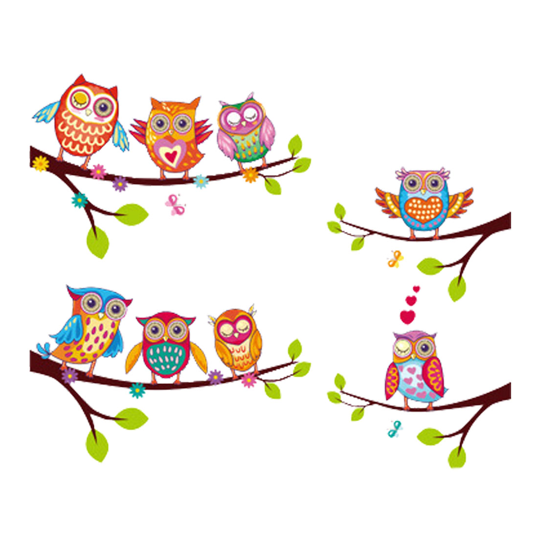 Owl Wall Stickers Removable Art DIY Paper Decal for Bedroom and Living Room
