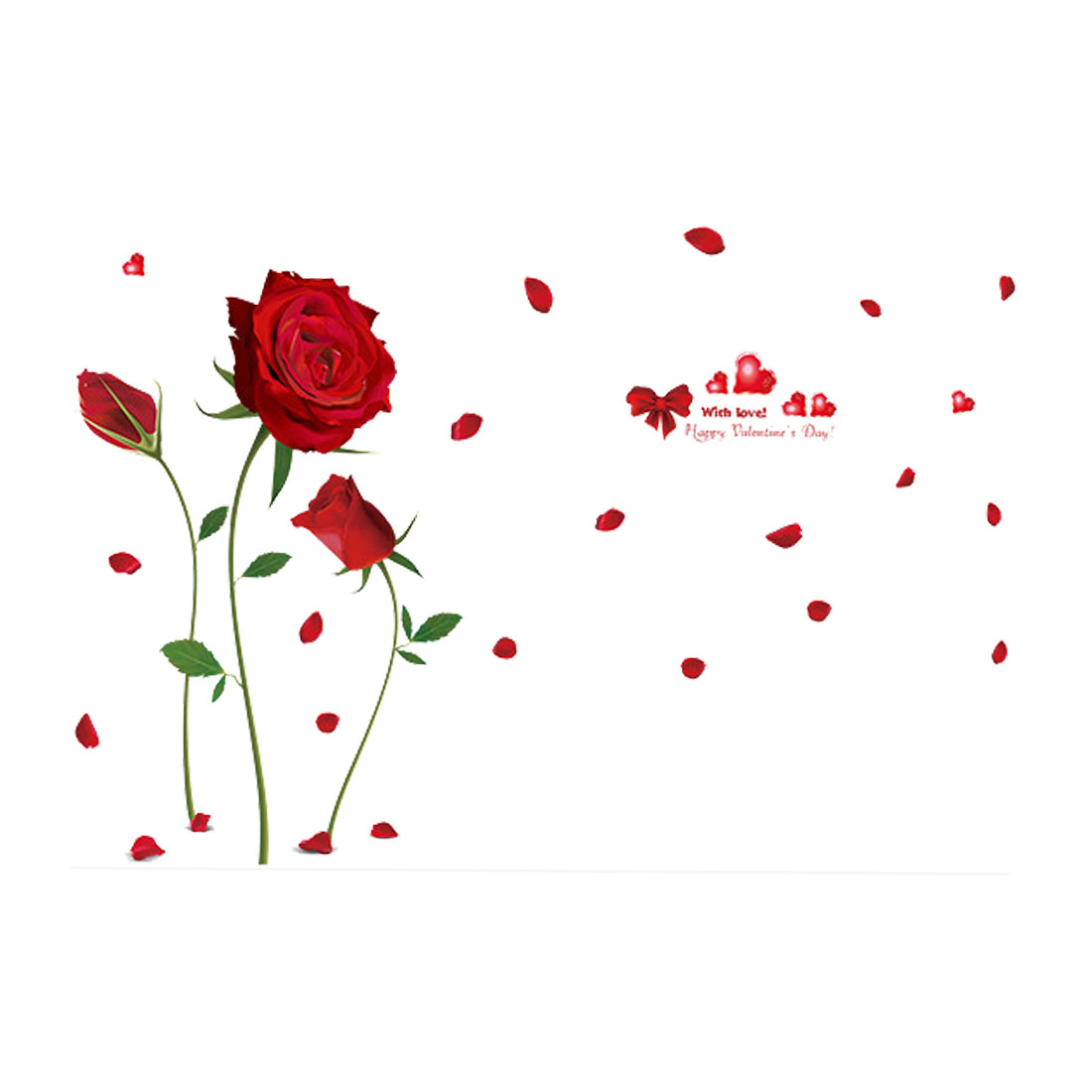 Red Rose Pattern Wall Sticker Self-stick DIY Art Decal for Living Room