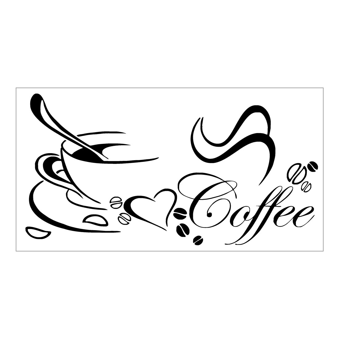 Coffee Pattern Wall Stickers Removable Art Decals for Home Living Room