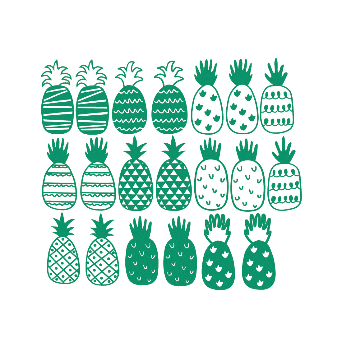 Green Pipeapple Pattern Wall Stickers Self-stick Art Decal for Living Room