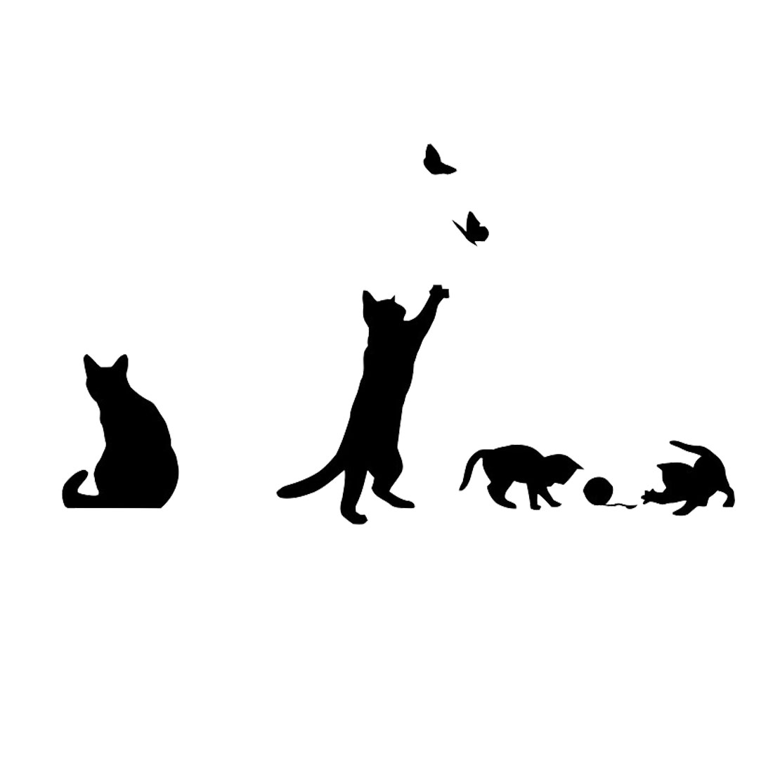 Cat Pattern Wall Sticker Self-stick DIY Art Decal for Living Room Bedroom