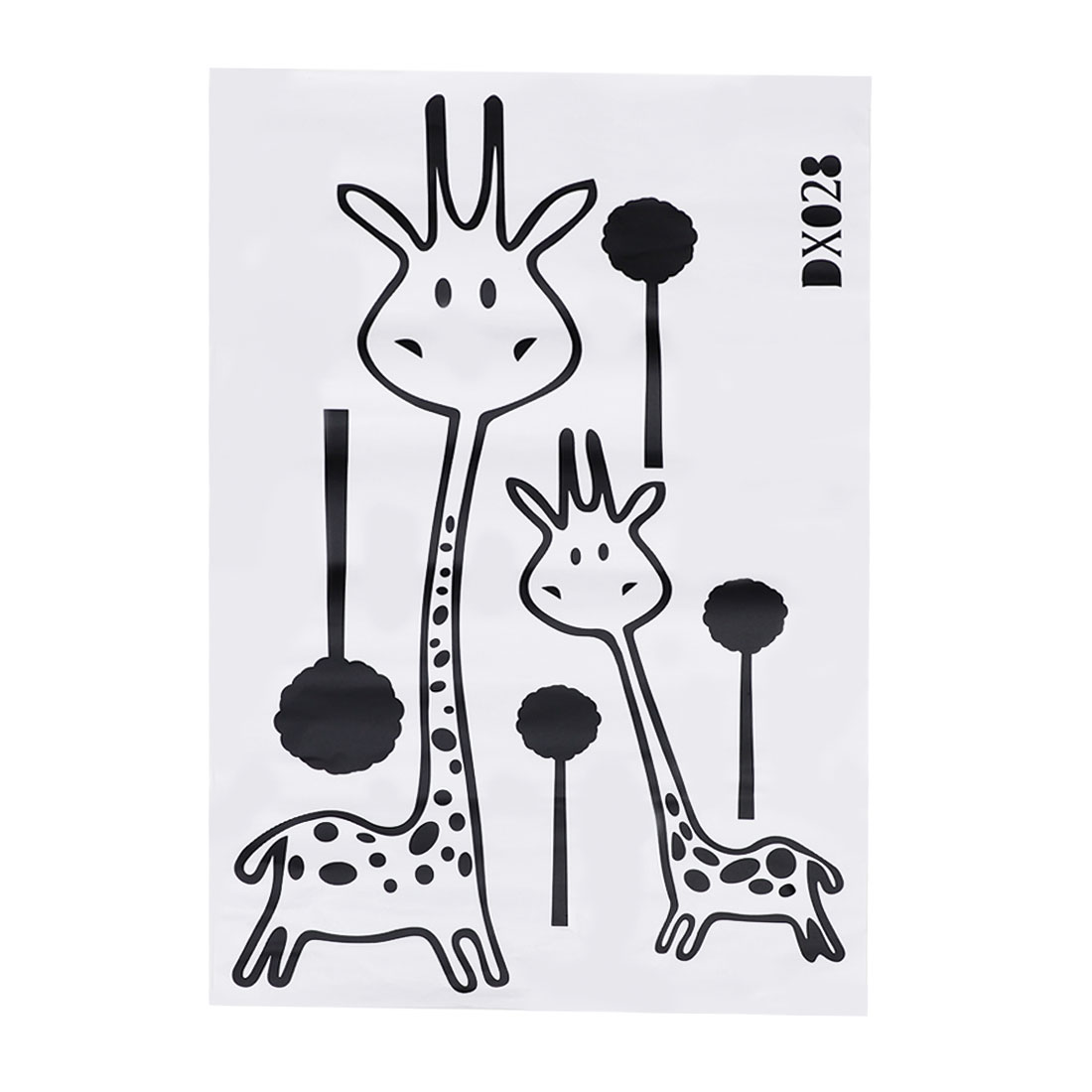 Forest Animal Giraffe Self-stick Wall Stickers Artificial Decal for Bedroom
