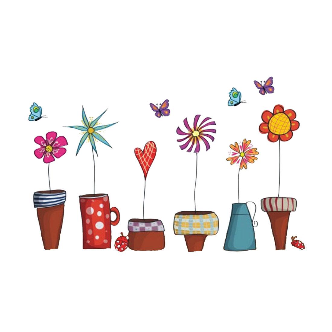Cartoon Flower Pot Wall Stickers Self-stick Artificial Decal for Bedroom