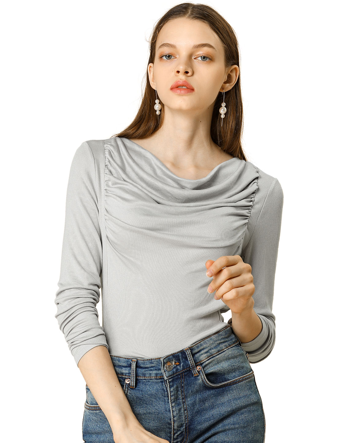 Allegra K Women Cowl Neck Long Sleeves Ribbed Ruched Knit Top Gray M (US 10)