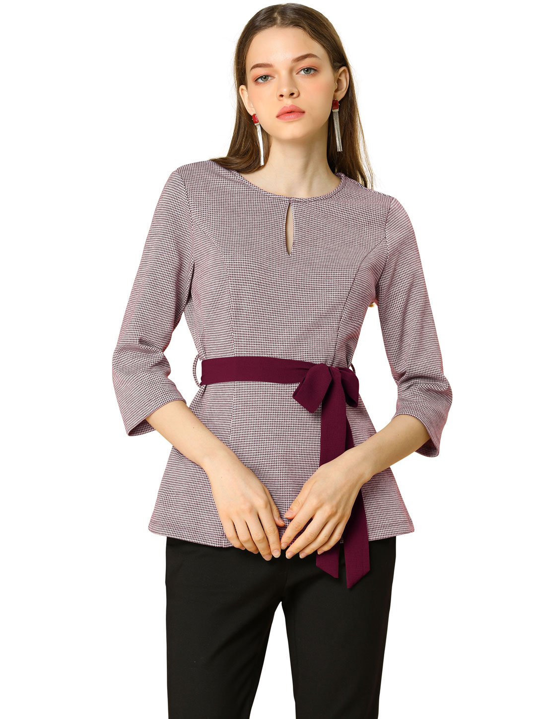 Allegra K Women's Round Neck 3/4 Sleeve Belted Houndstooth Top Purple XS