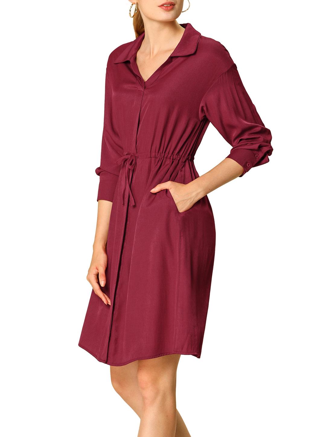 Allegra K Women's Long Sleeve Tie Waist A-Line Shirt Dress with Pock Wine Red M