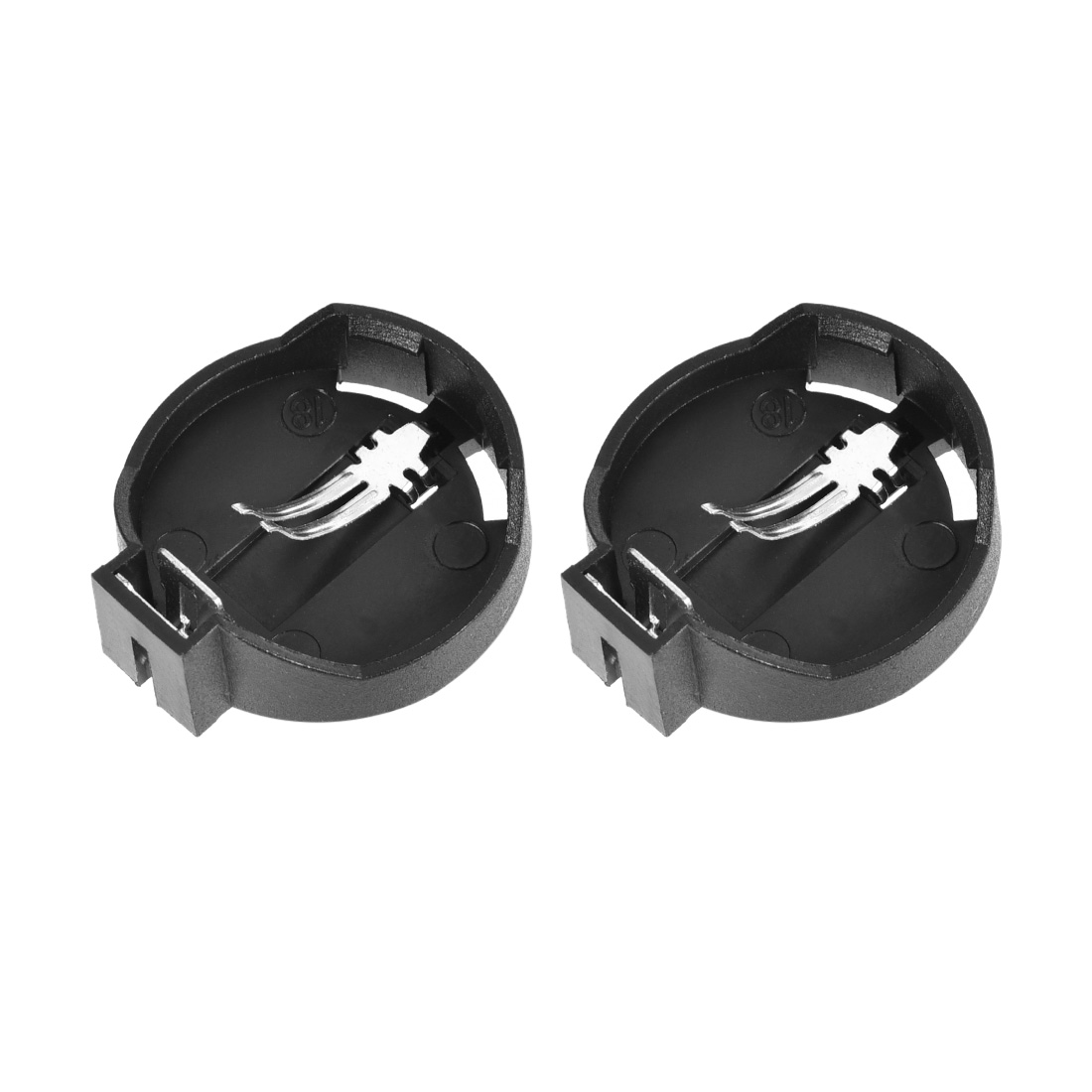 CR2025 Button Coin Cell Battery Holder Storage Case Box Black 2Pcs