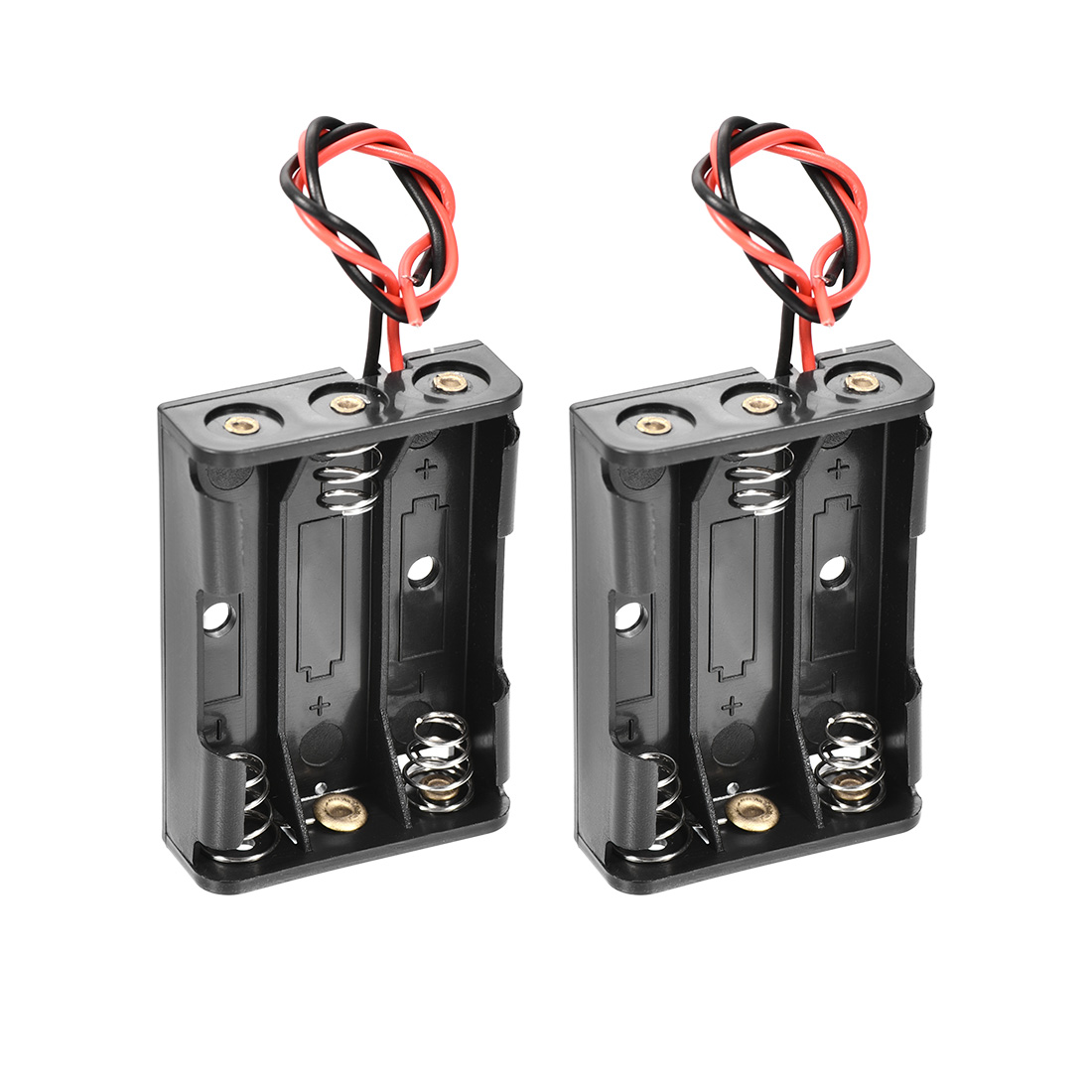3 x 1.5V AAA Battery Spring Clip Holder Storage Case Box Wire Leads 2Pcs