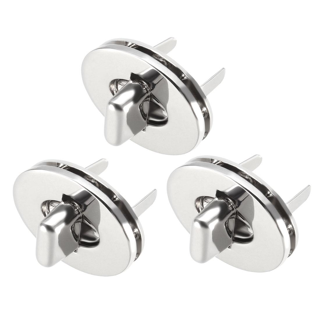 3 Sets Oval Purses Twist Lock 30mm x 24mm Closures for DIY Bag Making - Silver