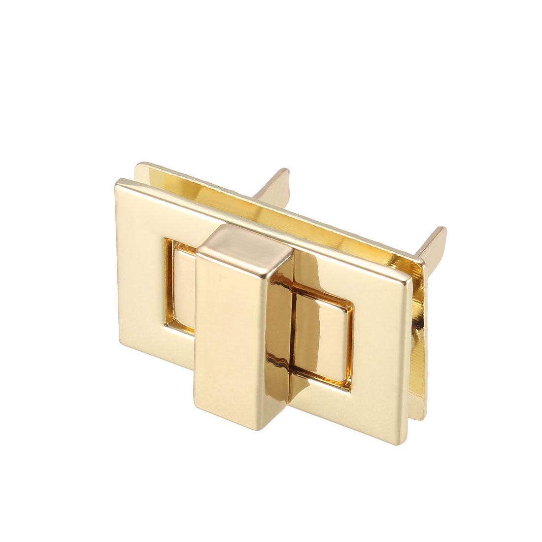 1 Set Rectangular Purses Twist Lock 32mm x 20mm Clutches Closures - Light Gold