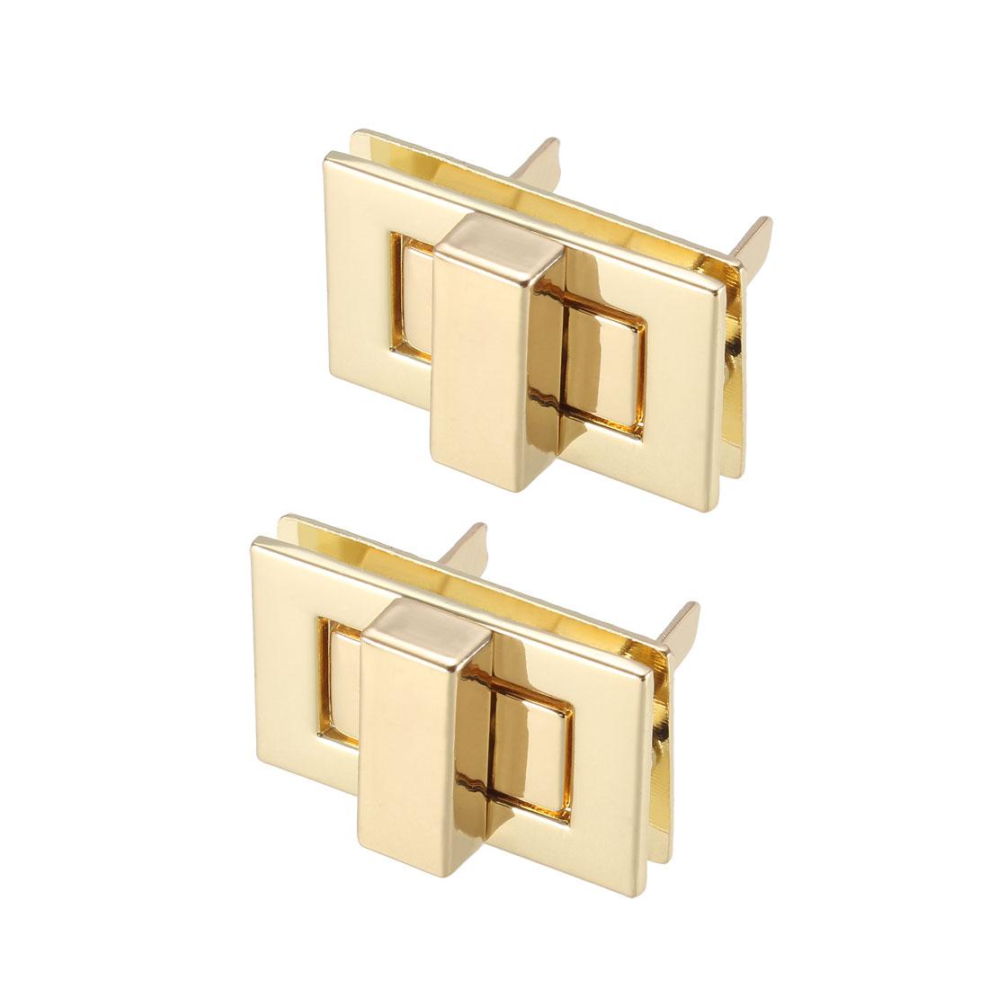 2 Sets Rectangular Purses Twist Lock 32mm x 20mm Clutches Closures - Light Gold
