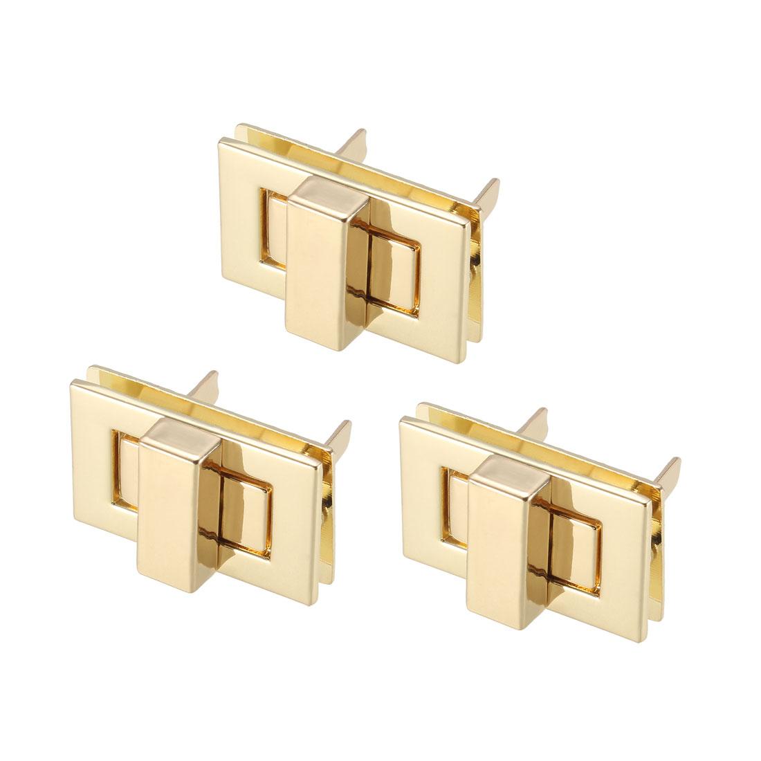 3 Sets Rectangular Purses Twist Lock 32mm x 20mm Clutches Closures - Light Gold