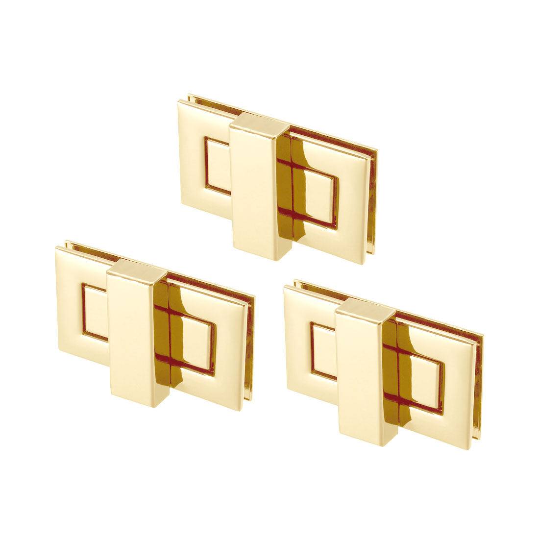 3 Sets Rectangular Purses Twist Lock 52mm x 29mm Clutches Closures - Light Gold