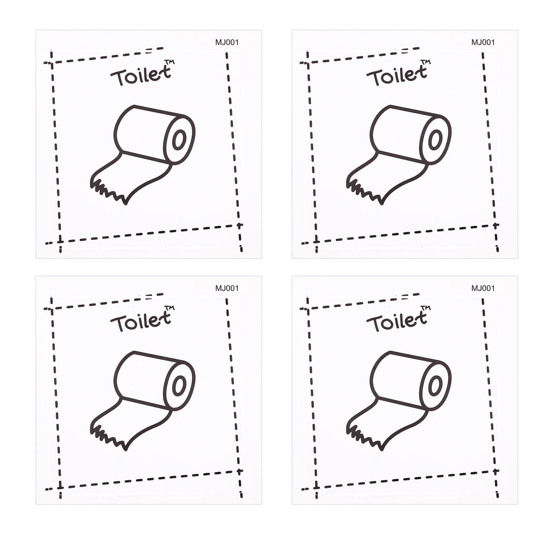 4pcs Toilet PVC Switch Wall Sticker Bedroom Removable DIY Decal Arts Decoration