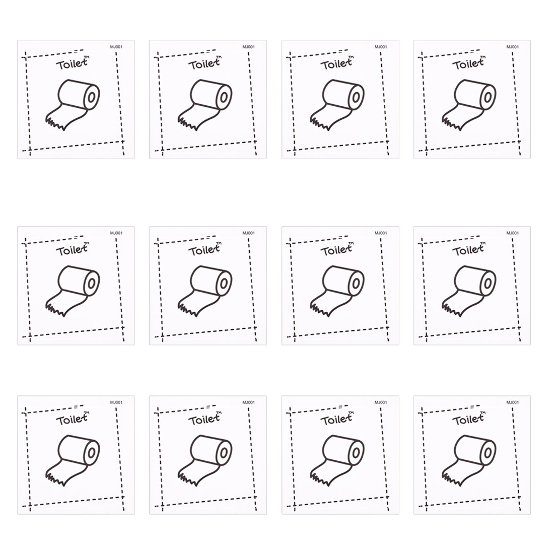 12pcs Toilet PVC Switch Wall Sticker Bedroom Removable DIY Decal Arts Decoration