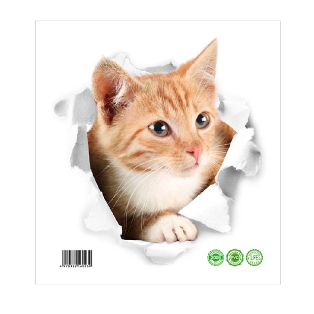 Cute Cat Pattern Artificial 3D Wall Stickers Art Decals Self-sticky DIY
