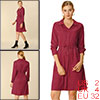 Women's Solid Drawstring Waist Long Sleeve Work Shirt Dress Wine Red XS (US 2)