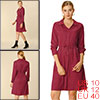Women's Solid Drawstring Waist Long Sleeve Work Shirt Dress Wine Red M (US 10)