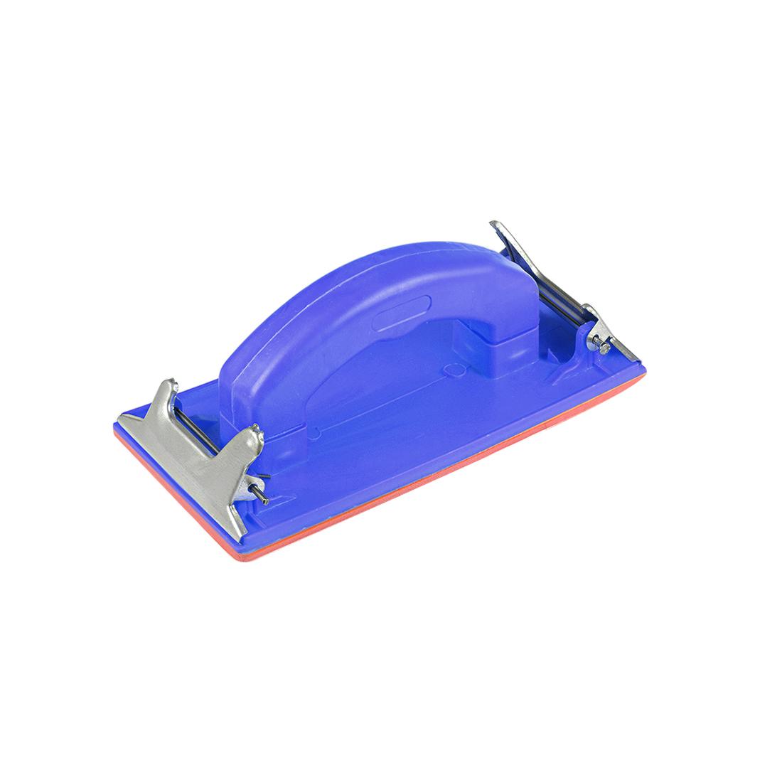 """Sander Block 7x3.4"""" Sandpaper Sheet Holder Plastic Handle Sand Grind Polish Blue"""