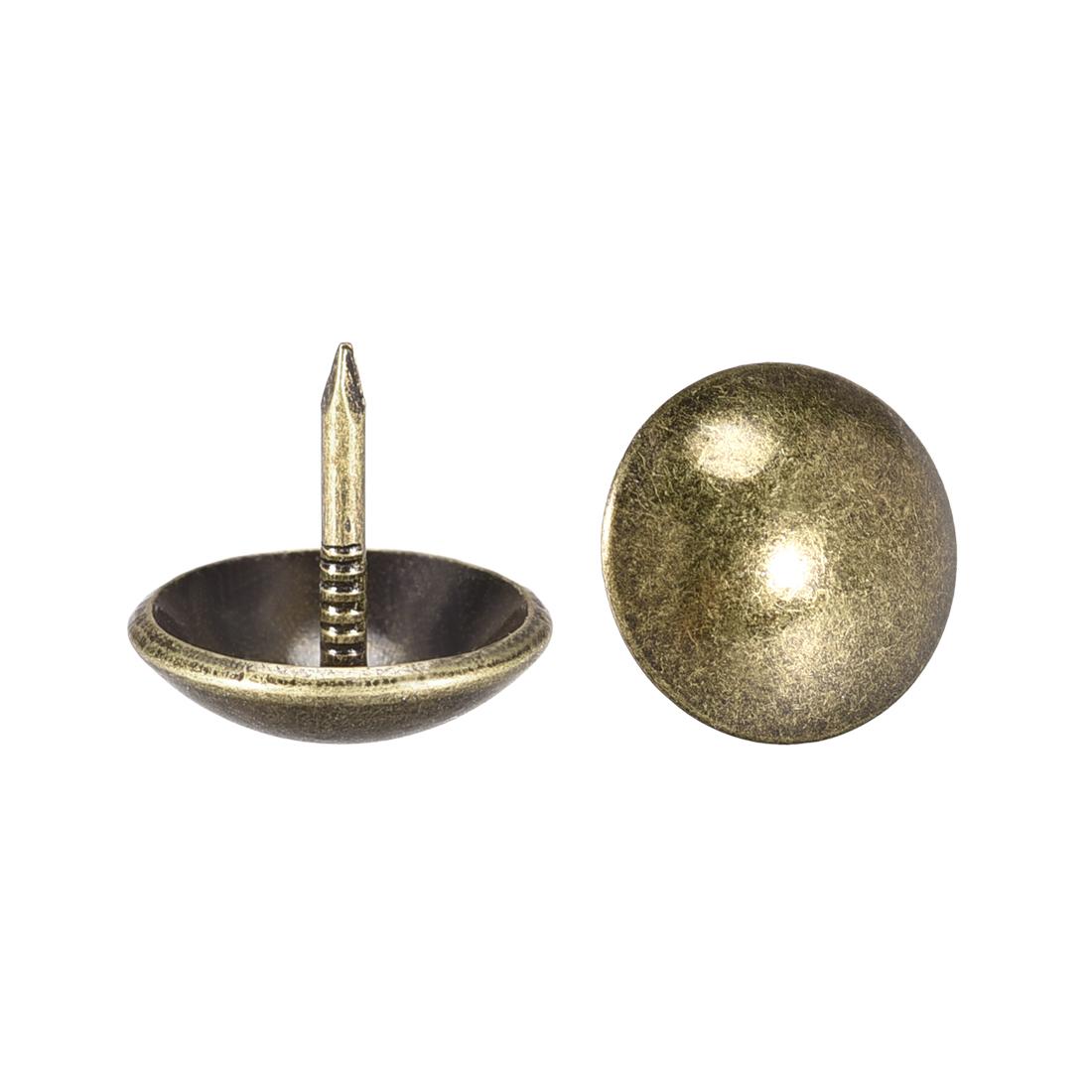 Upholstery Nails Tacks 14mm Dia 13mm Height Round Push Pins Bronze Tone 30 Pcs