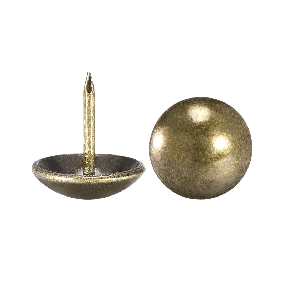 Upholstery Nails Tacks 16mm Dia 17mm Height Round Push Pins Bronze Tone 30 Pcs