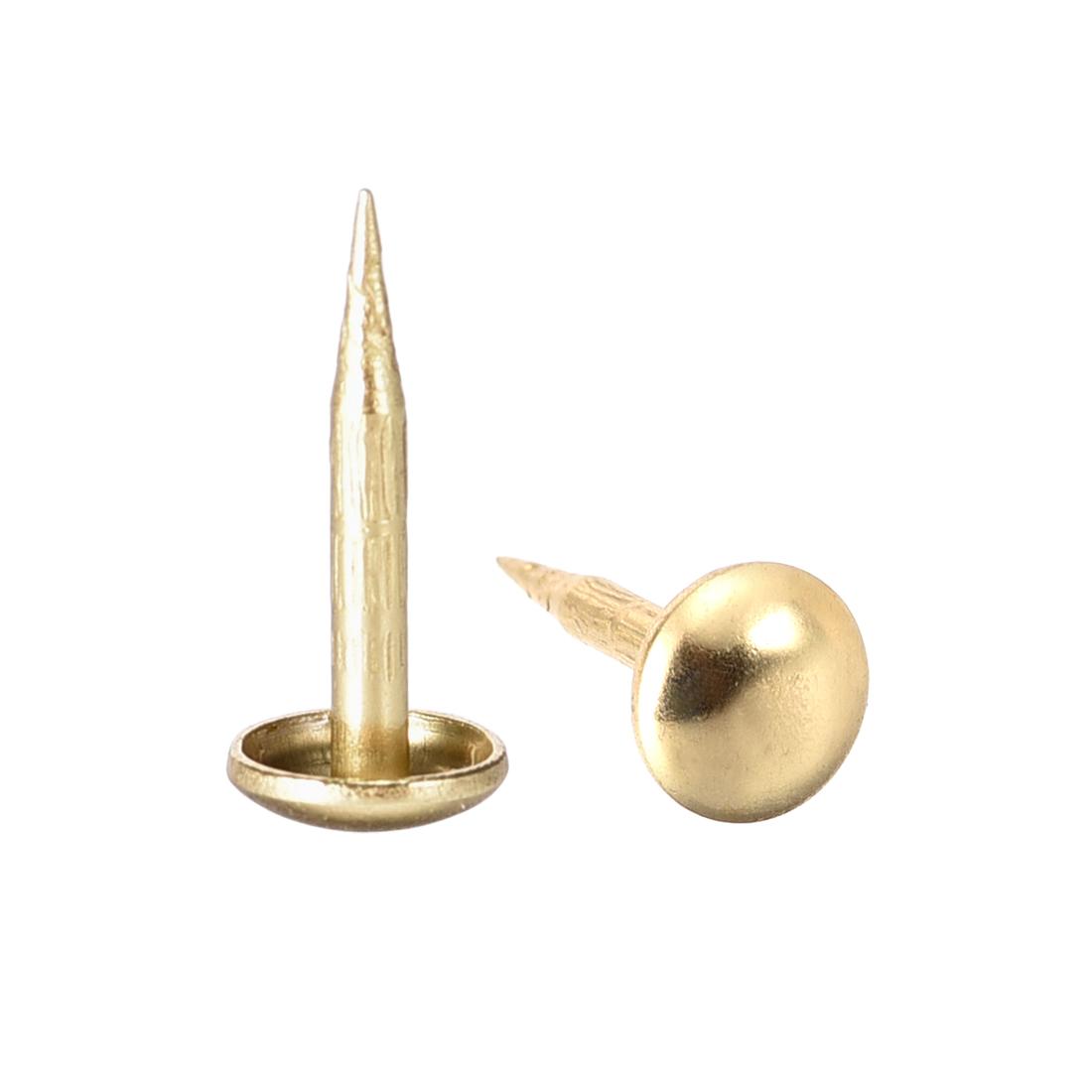 Upholstery Nails Tacks 6mm Dia 13mm Height Round Thumb Pins Gold Tone 50 Pcs