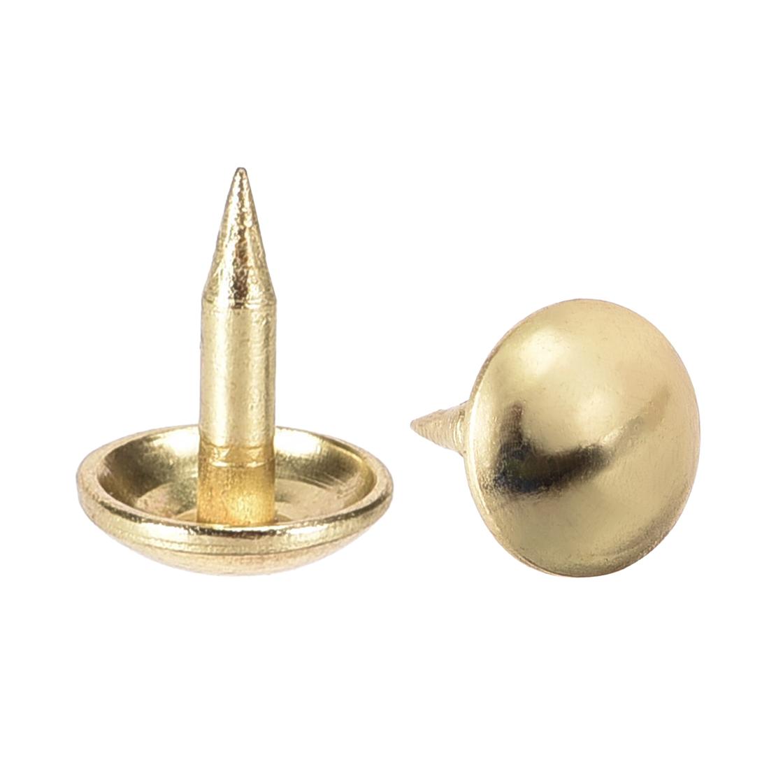 Upholstery Nails Tacks 8mm Dia 10mm Height Round Thumb Pins Gold Tone 100 Pcs
