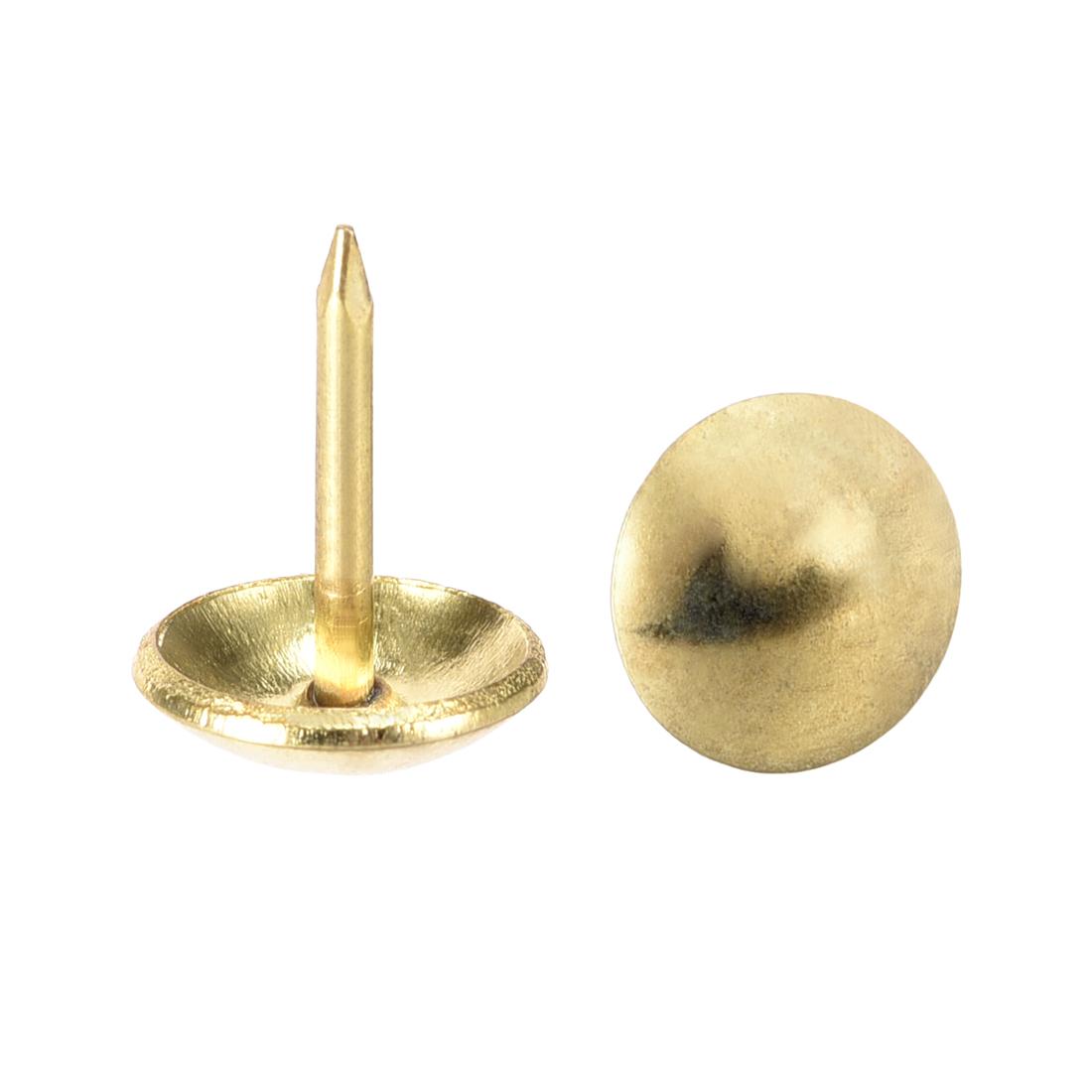 Upholstery Nails Tacks 10mm Dia 11mm Height Round Push Pins Gold Tone 50 Pcs