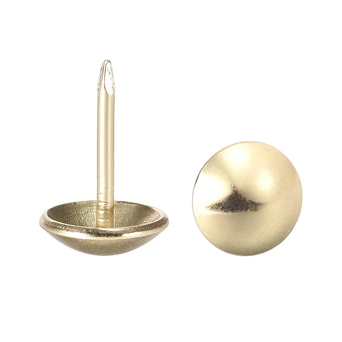 Upholstery Nails Tacks 11mm Dia 17mm Height Round Thumb Pins Gold Tone 100 Pcs