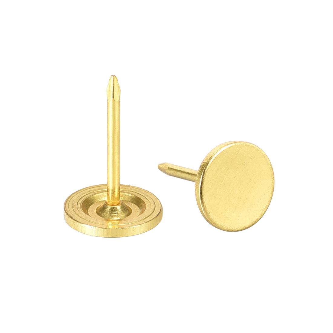 Upholstery Nails Tacks 11mmx17mm Flat Head Furniture Nail Gold Tone 100 Pcs