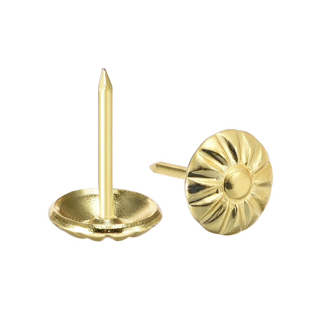 Upholstery Nails Tacks 11mm Dia 17mm Height Furniture Push Pins Gold Tone 100Pcs