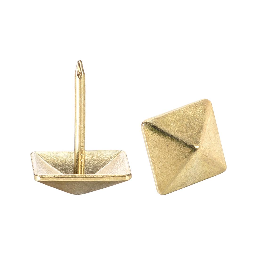 Upholstery Nails Tacks 12mm Square Head 17mm Height Nails Pins Gold Tone 50 Pcs