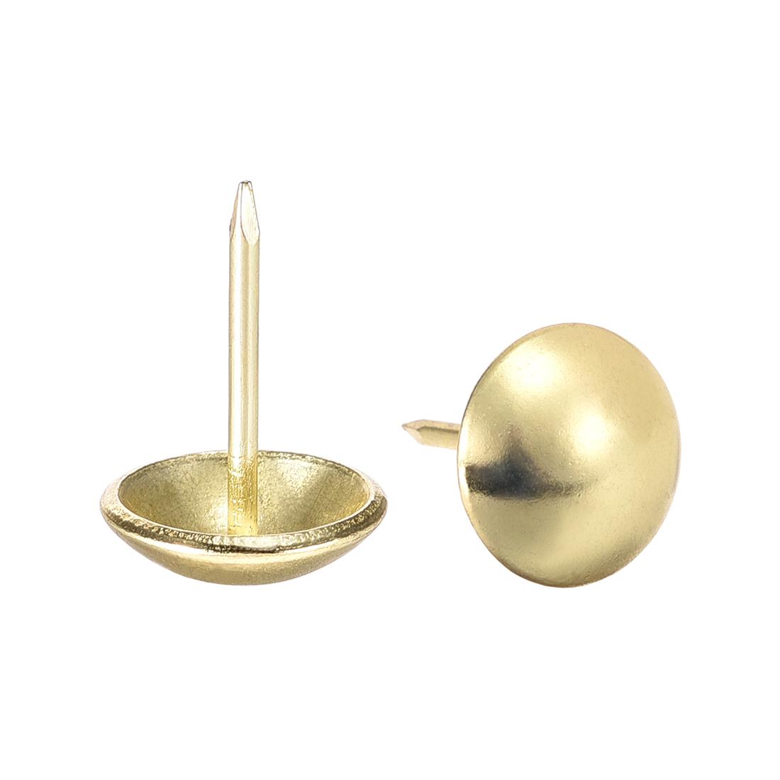 Upholstery Nails Tacks 14mm Dia 20mm Height Round Thumb Pins Gold Tone 50 Pcs
