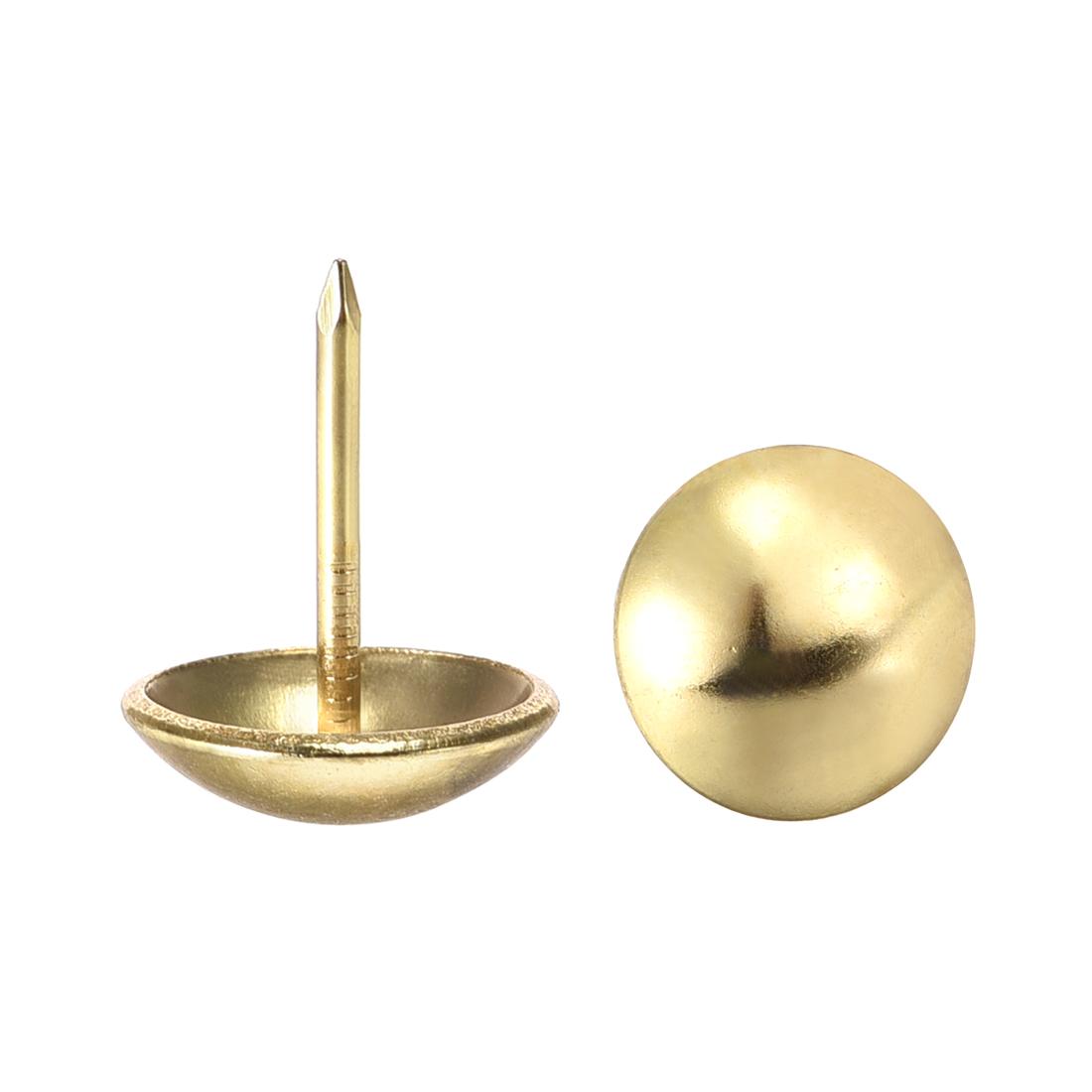 Upholstery Nails Tacks 16mm Dia 20mm Height Round Thumb Pins Gold Tone 25 Pcs