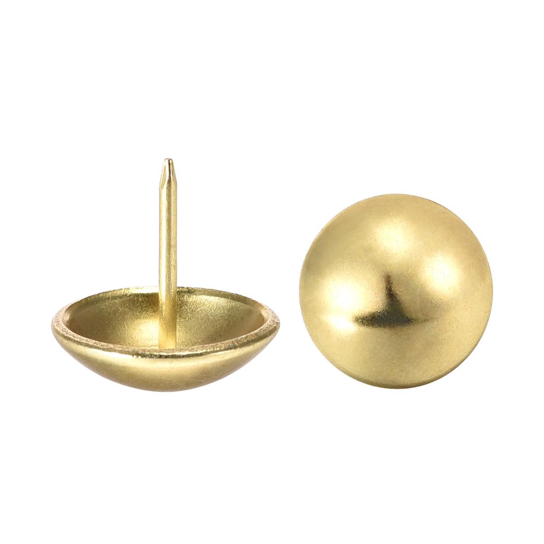Upholstery Nails Tacks 18mm Dia 17mm Height Round Thumb Pins Gold Tone 25 Pcs