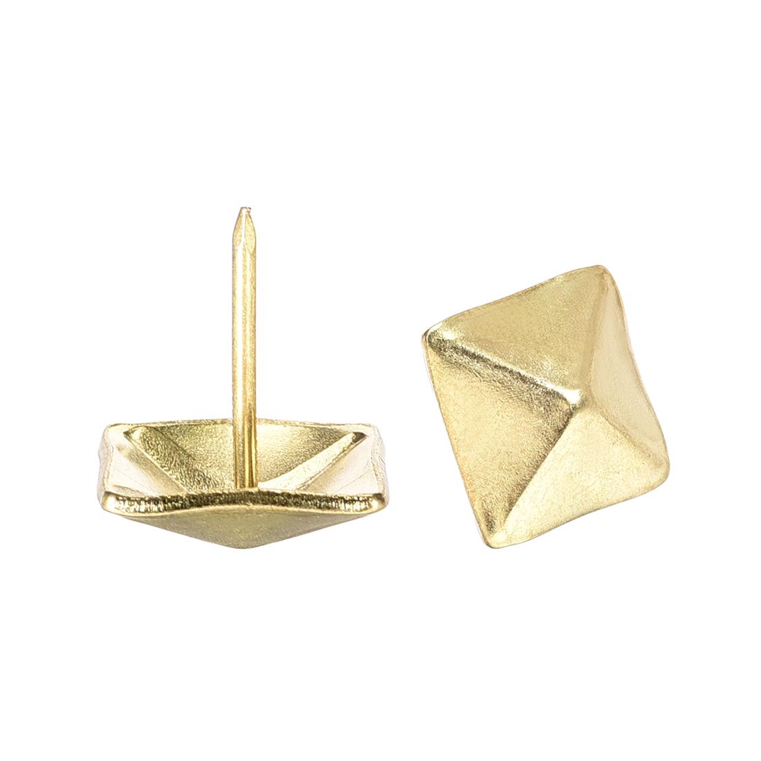 Upholstery Nails Tacks 19mm Square Head 21mm Height Nails Pins Gold Tone 10 Pcs