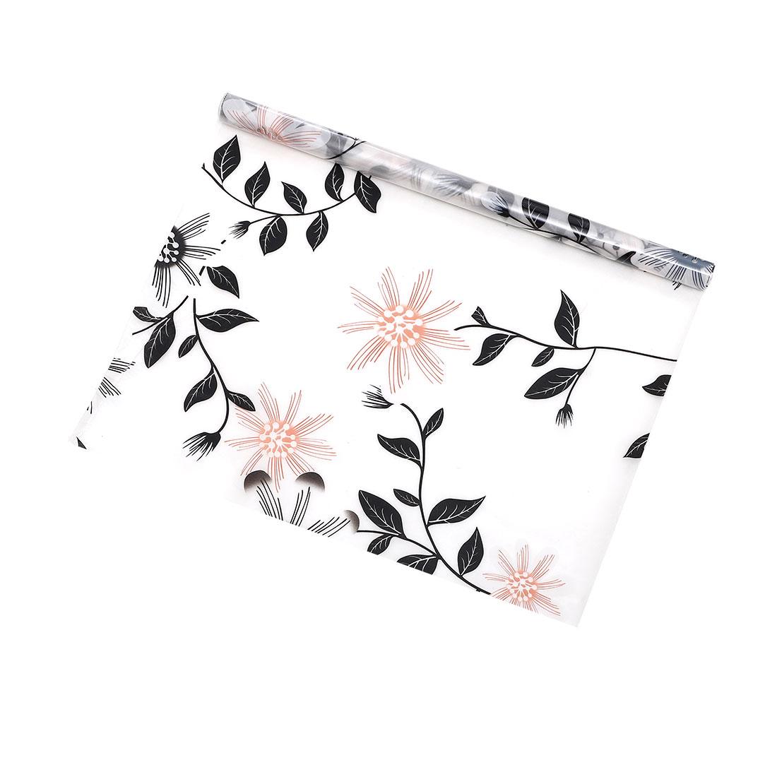 PVC 78.7 x 17.7 Inch Anti UV Window Film Sticker Elegent Flower