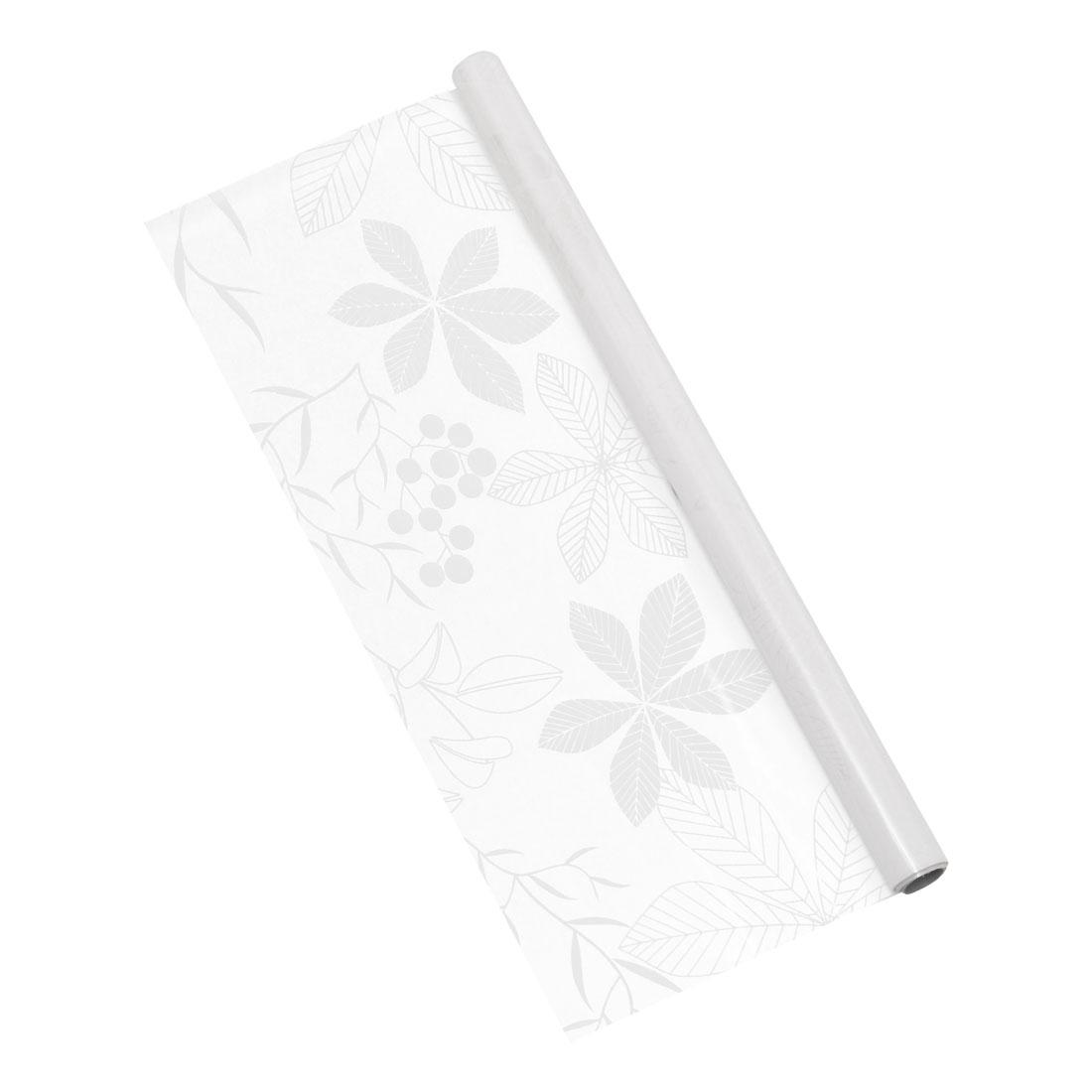 PVC 78.7 x 17.7 Inch Anti UV Window Film Sticker White Leaf