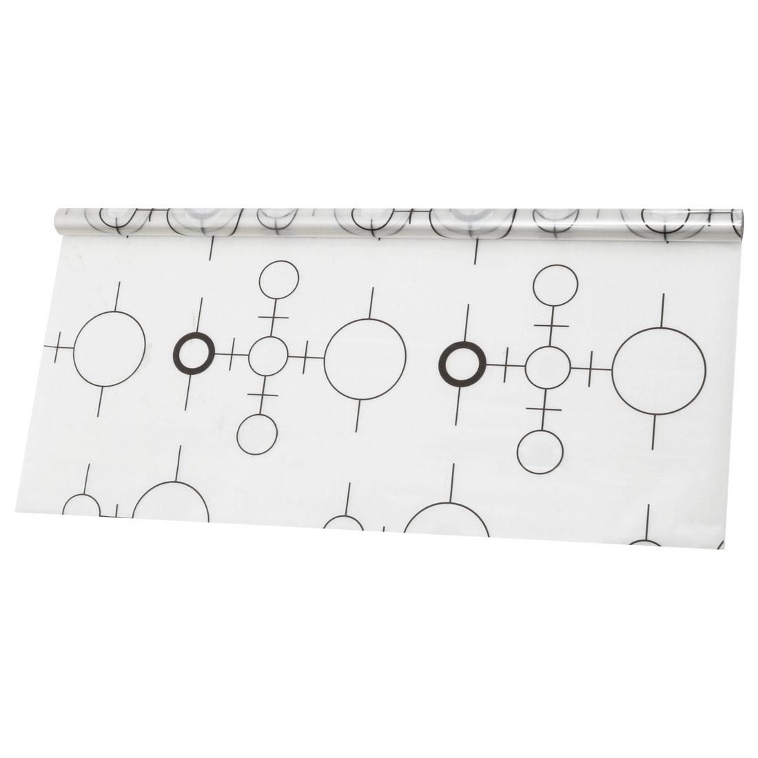 PVC 78.7 x 17.7 Inch Anti UV Window Film Sticker Black and White Circle
