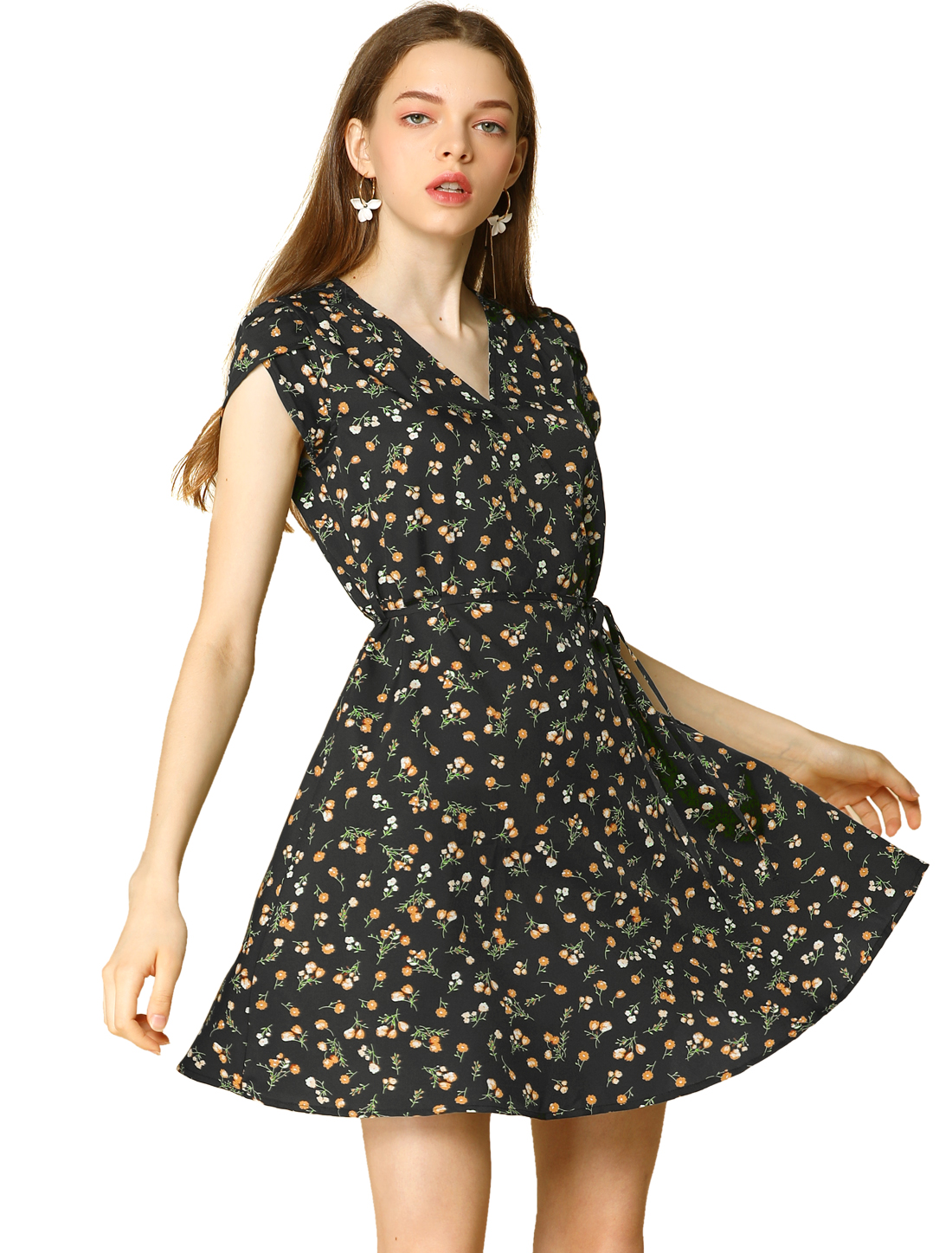Allegra K Women's Floral Crossover V Neck Petal Sleeves Flowy Dress Black M