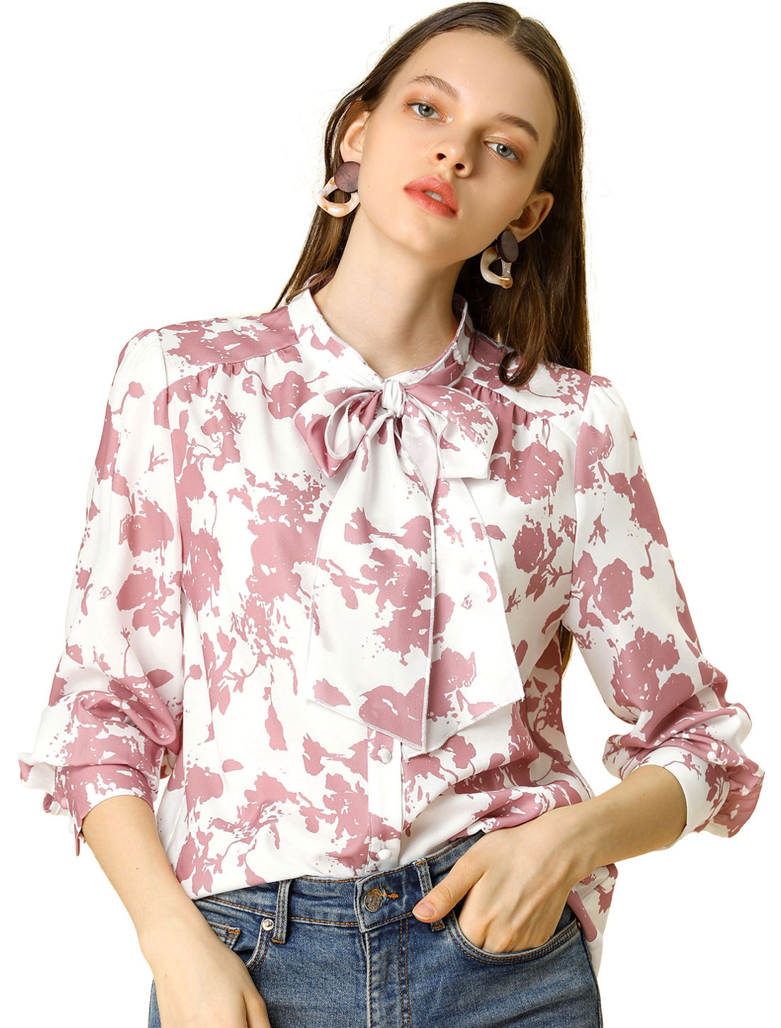 Allegra K Women's Floral Ruffle Sleeves Button Up Blouse Tie Neck Shirt White L