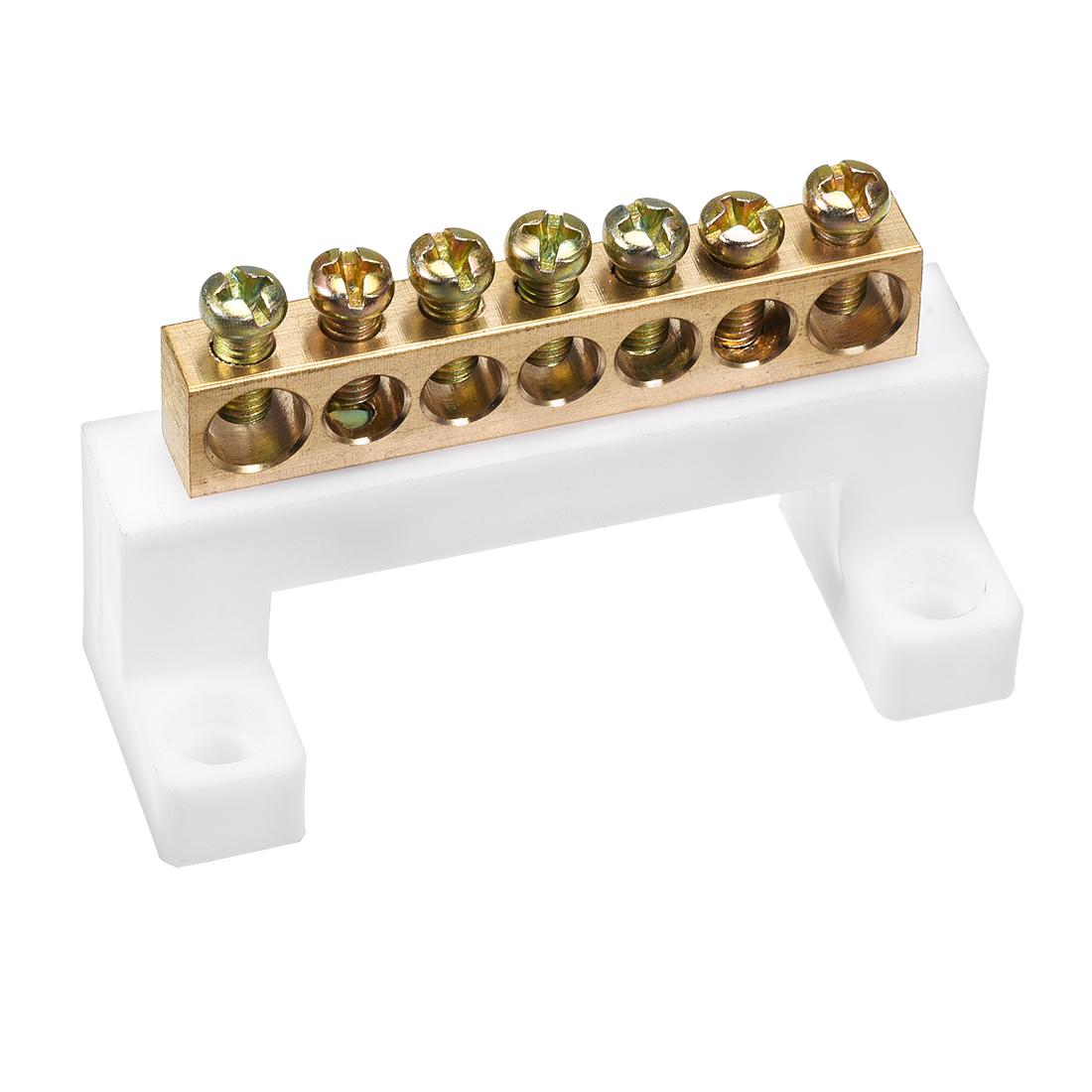 Copper Screw Terminal Block Bar 100A Double Row Bridge Shape 7 Positions