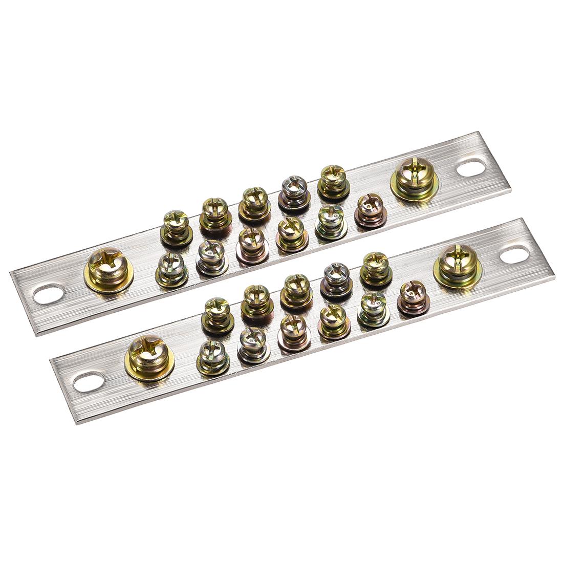 Copper Screw Terminal Block Connector Bar 100A Double Row 13 Positions 2 Pcs