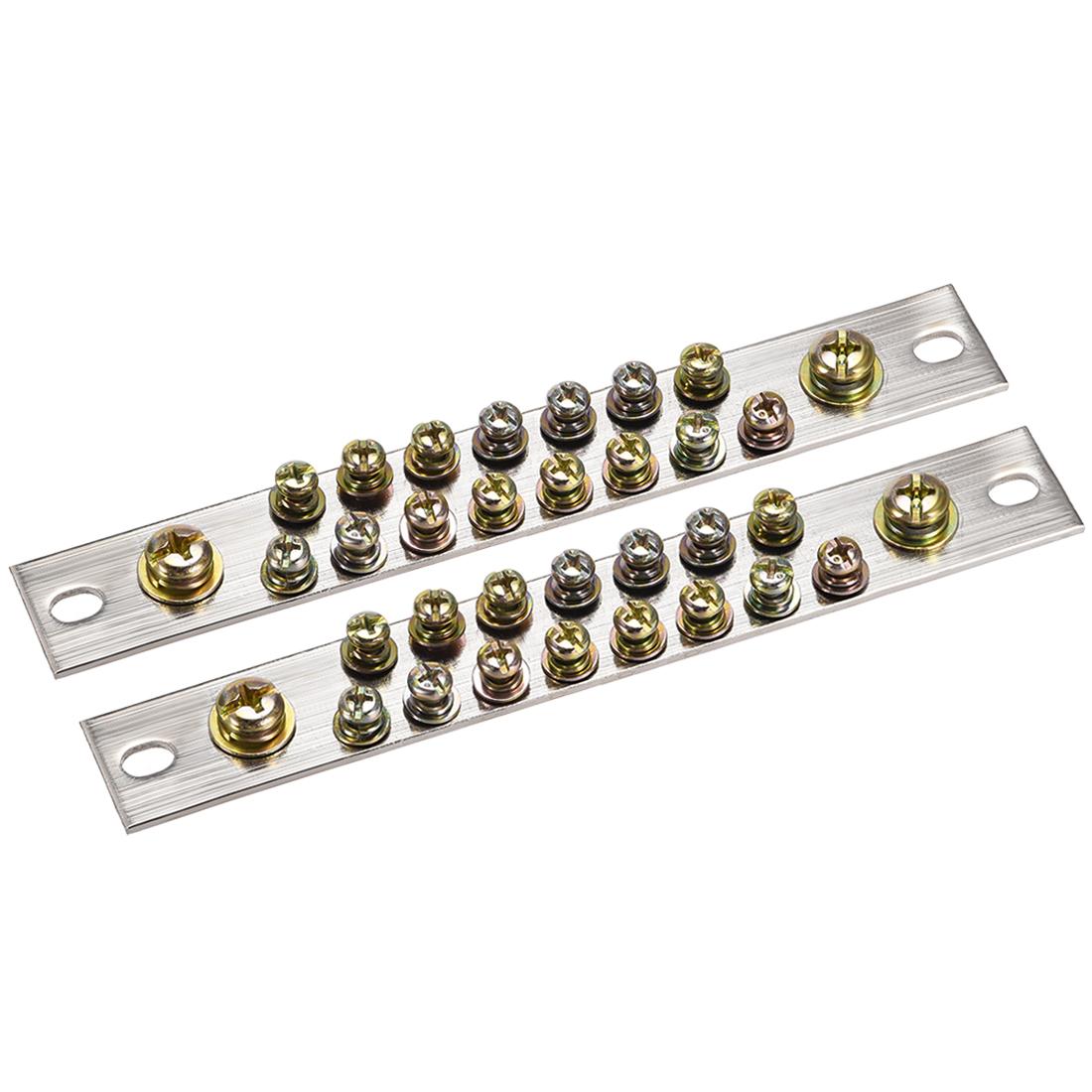 Copper Screw Terminal Block Connector Bar 100A Double Row 17 Positions 2 Pcs