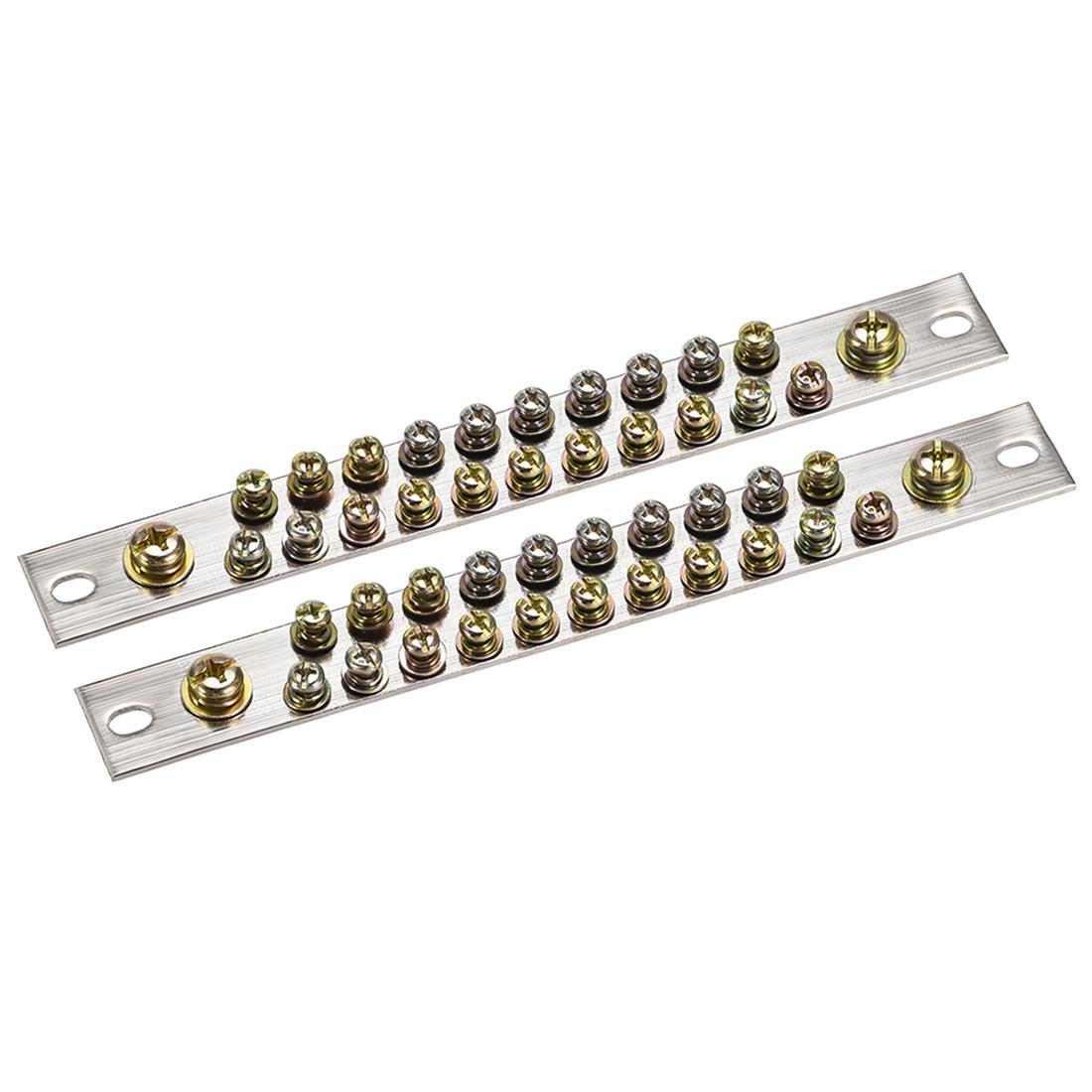 Copper Screw Terminal Block Connector Bar 100A Double Row 23 Positions 2 Pcs