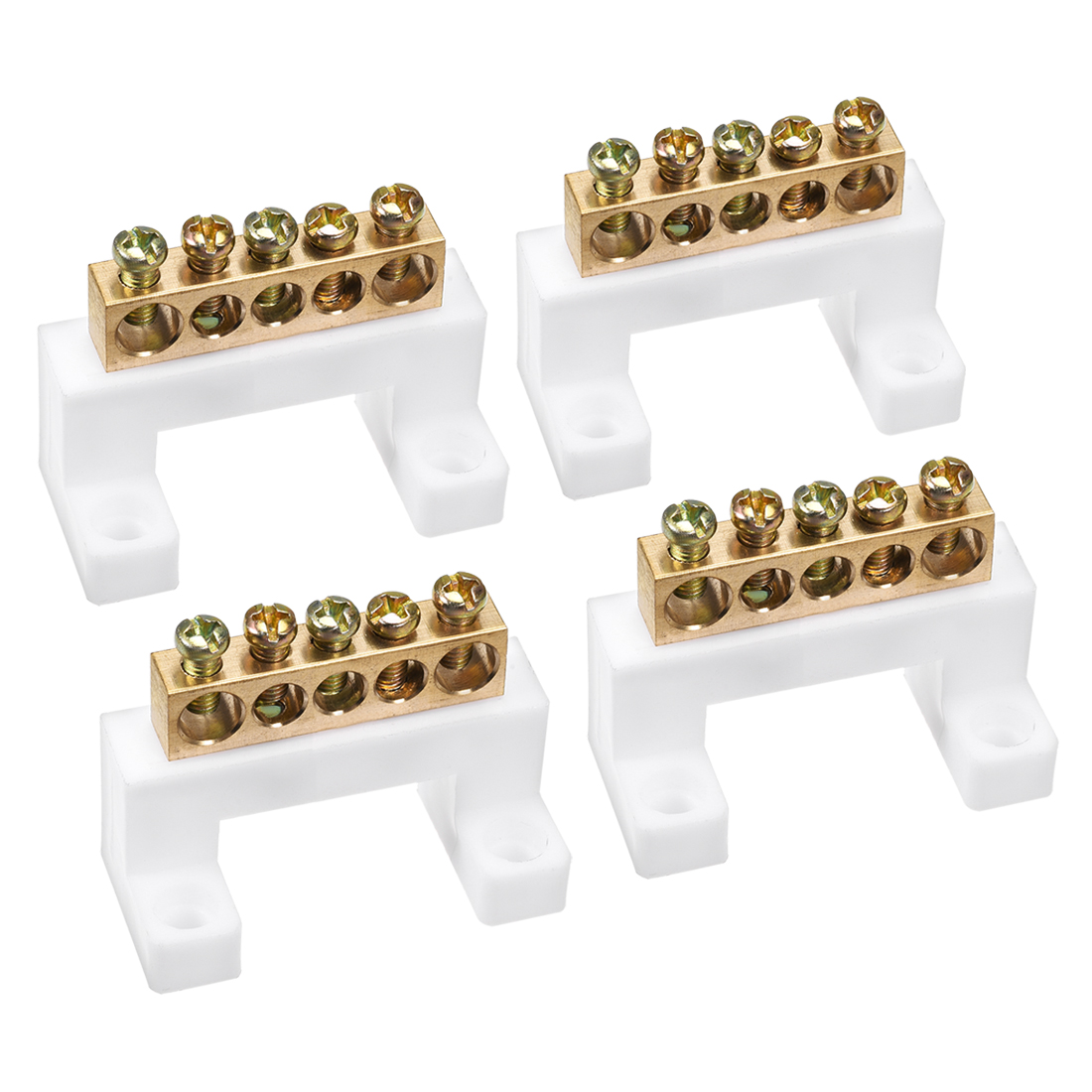 Copper Screw Terminal Block Bar 100A Double Row Bridge Shape 5 Positions 4 Pcs
