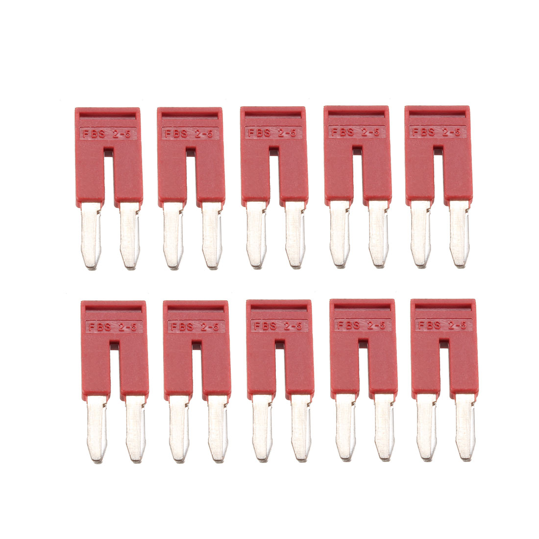 500V 25A 2 Positions Terminal Block Barrier Strip Pre-insulated Red 10 Pcs